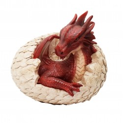 Large Laying Baby Dragon/Egg Resin Garden Ornament Size B By Vivid Arts