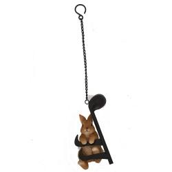 Hanging Rabbit On A Musical Note Indoor Outdoor Garden Ornament Gift Vivid Arts
