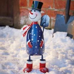 Christmas Polka Frosty Snowman Garden Sculpture by Smart Garden ideal present for garden or home