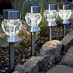 4 Pack Crystal Glass Garden Stake LED Lights solar Powered By Smart Garden