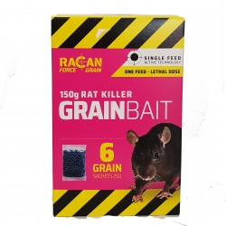 Racan Rat Killer Grain Bait Killer 6x25g Lethal Single Dose Single Feed Technology