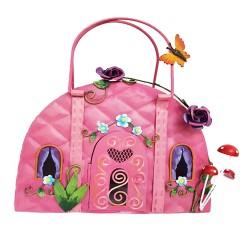 Cute Fairy Pink Handbag House Metal Garden Ornament Perfect For Fairy Gardens