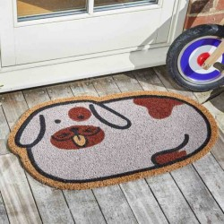 Spotty Dog Coir Door Mat For Indoor Or Outdoor Use