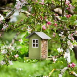GREEN HANGING BEACH HUT METAL SEED BIRD FEEDER GARDEN SMART GARDEN