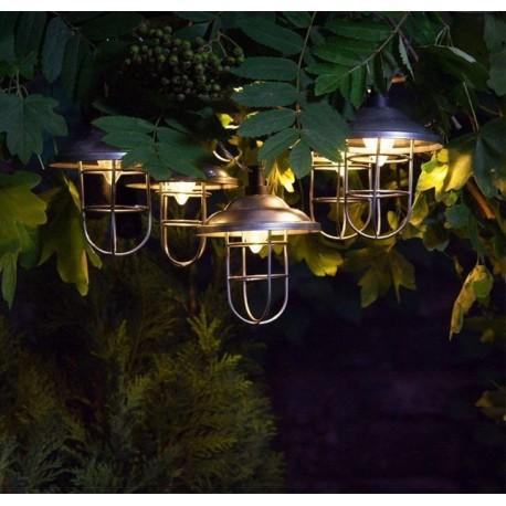 10 x Warm White Solar Powered Galvanised Metal Garden Fishermans Lantern String Lights LED