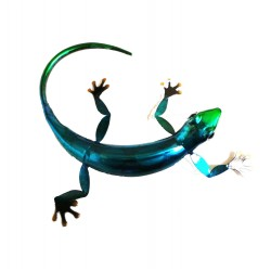 Blue Metal Gecko Lizard Wall Art Ornament