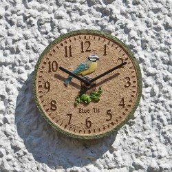 "Blue Tit Design Wall Clock ( 8"") Ideal For indoors And Garden Outside In Designs"