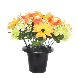 ARTIFICIAL ASTER HYDRANGEA ROSE BUD ORANGE GRAVE POT MEMORIAL SINCERE FLORAL