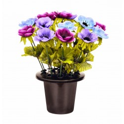 ARTIFICIAL LILAC ANEMONE GRAVE POT MEMORIAL & GARDEN SINCERE FLORAL
