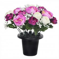 ARTIFICIAL PURPLE RANUNCULUS GRAVE POT MEMORIAL SINCERE FLORAL