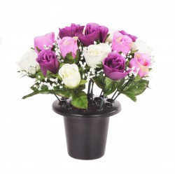 ARTIFICIAL PURPLE, CREAM ROSE GRAVE POT MEMORIAL SINCERE FLORAL