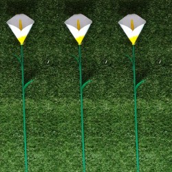 Pack Of 3 Mini Calla Lilly Flower Garden Ornamental Stakes By Fountasia