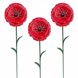 Pack Of 3 Mini Bright Red Poppy Metal Garden Stakes valentine Gift H 63cm Fountasi