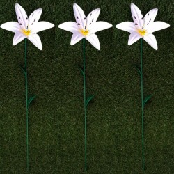 Pack Of 3 Mini White Stargazer Lilly Garden Ornamental Stakes By Fountasia