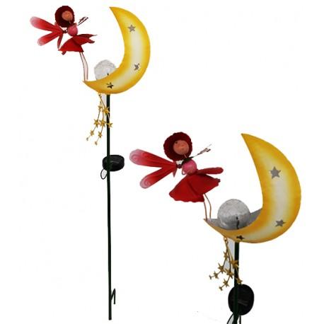 Cute Poppy Fairy On A Moon Large Stake Solar Powered Crackle Ball