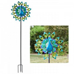 Peacock Metal Wind Spinner Solar Powered Garden Ornament Decoration Smart Garden