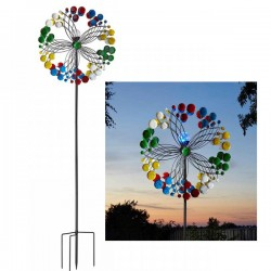 Harlequin Colourful Large Wind Spinner Solar Light Garden Ornament Smart Garden