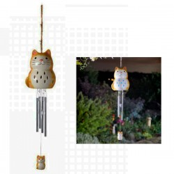 Ceramic Cat Solar Wind Chime Hanging Garden Ornament By Smart Solar