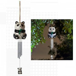 Ceramic Panda Solar Wind Chime Hanging Garden Ornament By Smart Solar
