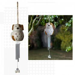 Ceramic Dog Solar Wind Chime Hanging Garden Ornament By Smart Solar