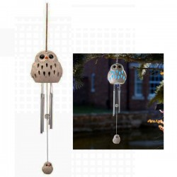 Smart Solar Ceramic Snowy Owl Wind Chime Light Solar Powered