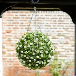 Hanigng 30cm White Rose Topiary Ball Decoration outdoor Or indoor Smart Garden
