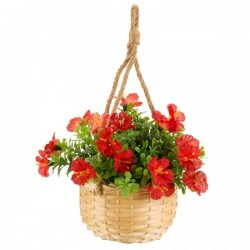 Red Blossom Hanging Basket Bouquet Artificial Flowers Garden Or Home