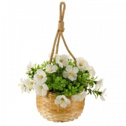white Blossom Hanging Basket Bouquet Artificial Flowers Garden Or Home