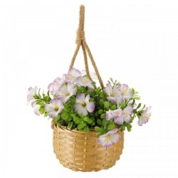 Pink & White Blossom Hanging Basket Bouquet Artificial Flowers Garden Or Home
