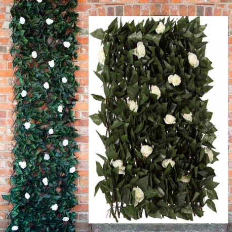White Rose and Leaf Trellis Expandable Artificial Garden Decor Outdoor 180x60cm