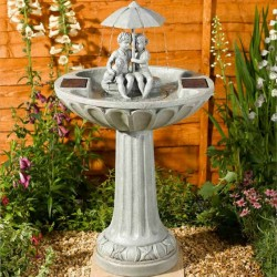Umbrella Fountain Solar Powered Resin Stone Effect Easy To Install And Use No Mains Wiring
