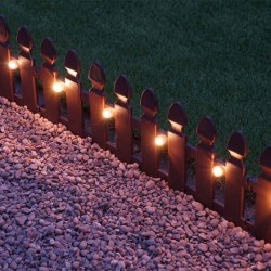 2m x 30cm Solar Lit Plastic Picket Fence Lawn Edging Smart Garden Outdoor