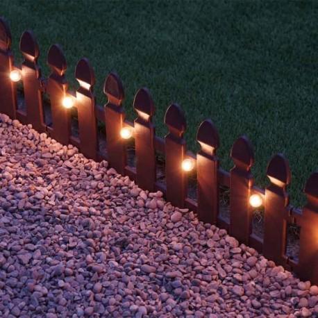 2m x 30cm Solar Lit Plastic Picket Fence Lawn Edging Smart Garden Outdoor
