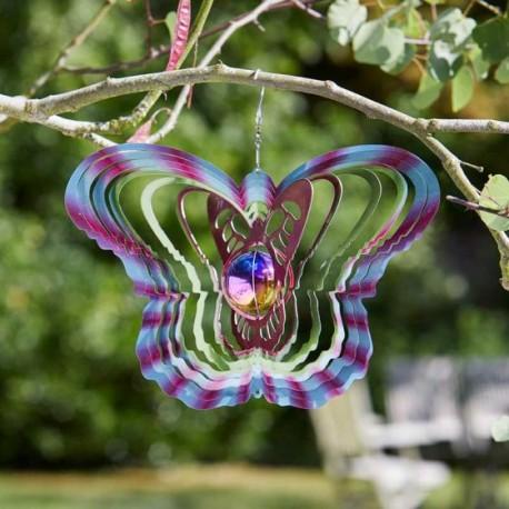 Large Gazing Butterfly Glitter Holographic Effect Globe Garden Wind Spinner 30cm