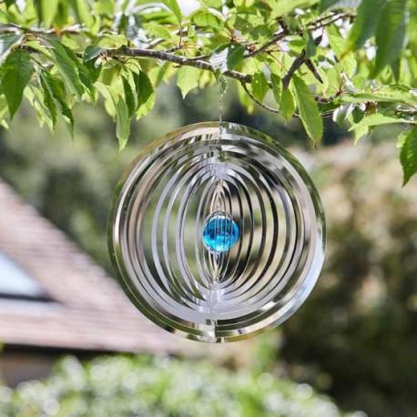 Large Elegant Radiance Orb Blue Crystal Globe Garden Wind Spinner Smart Garden