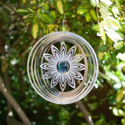 Lovely Floral Orb Decorative Wind Spinner 30cm Mesmerizing Holographic Effect