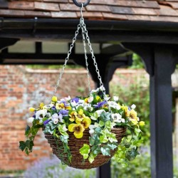 Pansy Artificial Flower Hanging Basket Indoor Outdoor Garden Decor UV Resistant