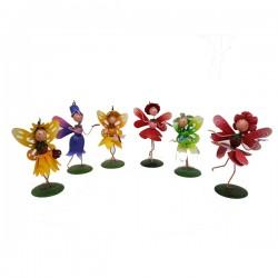 Set of 6 Cute Miniature Fairies Metal Garden Ornament Perfect For Fairy Gardens