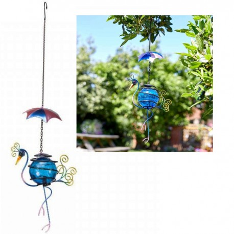 Cute Metal Hanging Umbrella Bouncing Peacock With Bright Blue Crackled Ball