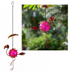Cute Metal Hanging Umbrella Bouncing Flamingo With Bright Pink Crackled Ball