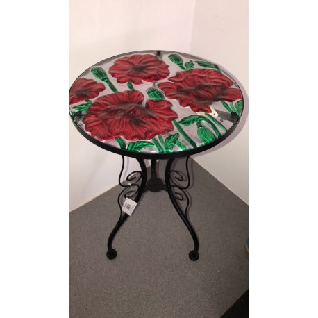 Metal Glass Top Table Poppy Design ideal for garden/conservatory Fountasia