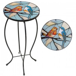 Metal Glass Top Table Robin & Blue Tit Design ideal for garden/conservatory Fountasia