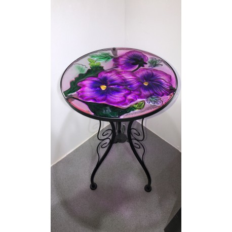 Metal Glass Top Table Pansy Design Ideal for garden/conservatory Fountasia