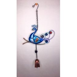 Peacock Bell Garden Wind Chime Brightly Painted Glass - Blue