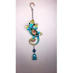 Gecko Bell Garden Decor Wind Chime Bright Painted Glass - Blue