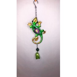 Gecko Bell Garden Decor Wind Chime Bright Painted Glass - Green