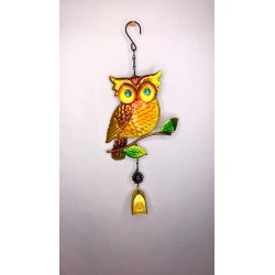 Cute Owl Bell Garden Wind Chime Bright Painted Glass - Gold