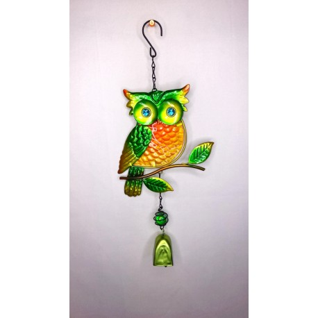 Cute Owl Bell Garden Wind Chime Bright Painted Glass - Green