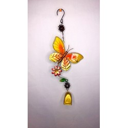Butterfly Bell Garden Wind Chime Bright Painted Glass - Orange
