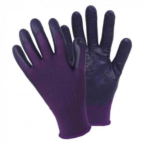 Medium Briers Purple With Floral Print Grip Design Lightweight Gardening Gloves